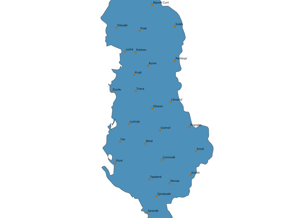 Albania Cities Map