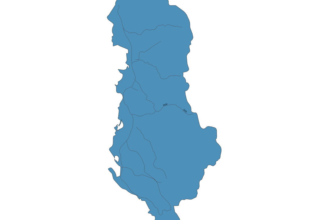 Map of Roads in Albania