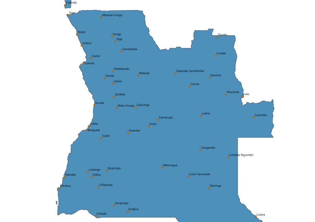 Angola Cities Map