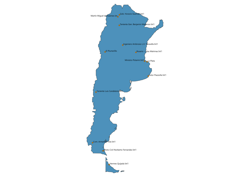 Map of Airports in Argentina