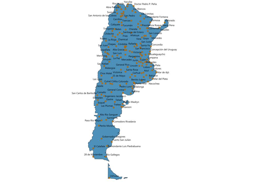 Argentina Cities Map