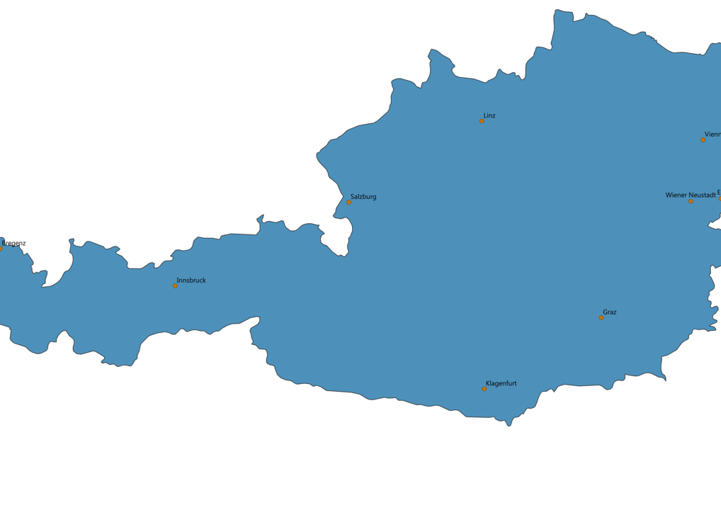 Austria Cities Map