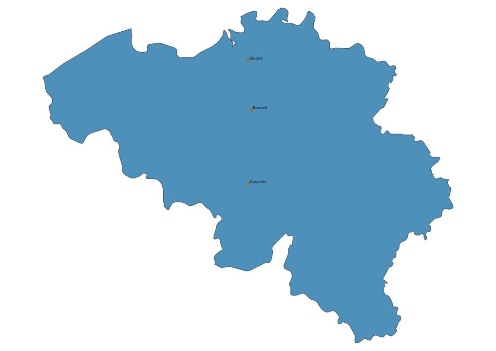 Map of Airports in Belgium
