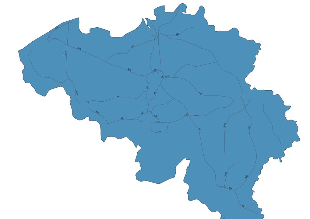 Map of Roads in Belgium