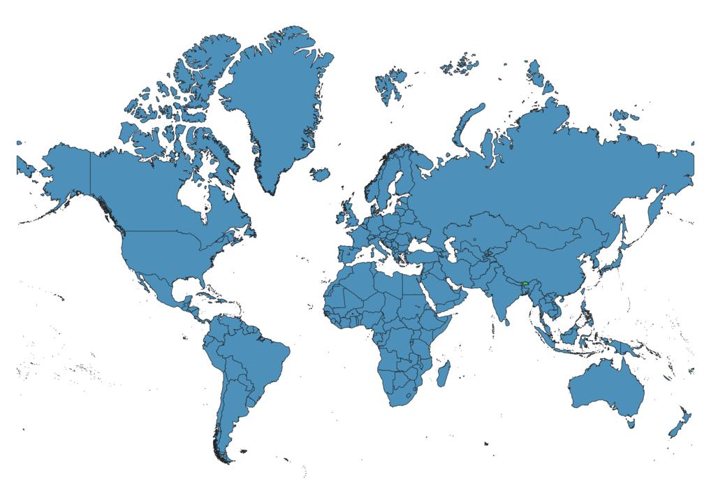 Bhutan Location on Global Map