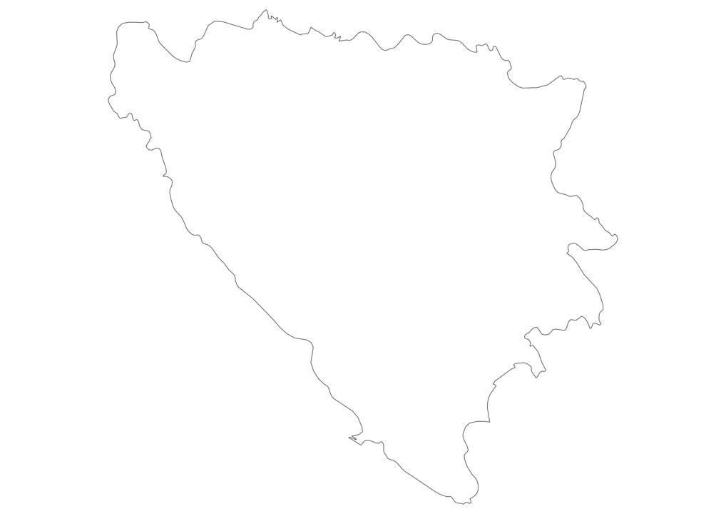 Bosnia and Herzegovina Outline Map