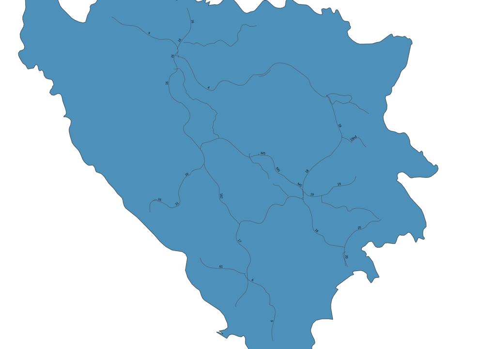 Map of Roads in Bosnia and Herzegovina