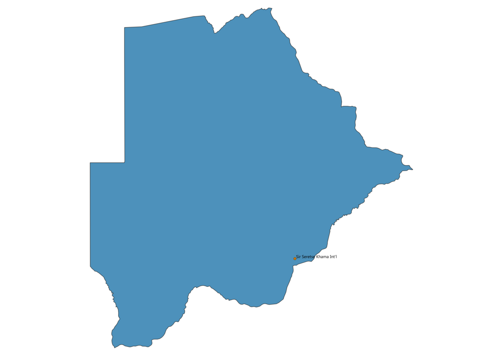 Map of Airports in Botswana