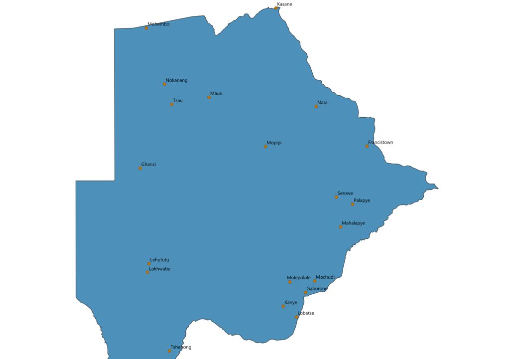 Botswana Cities Map