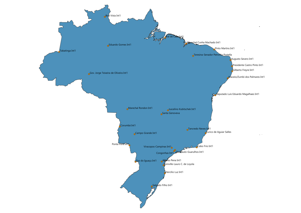 Map of Airports in Brazil
