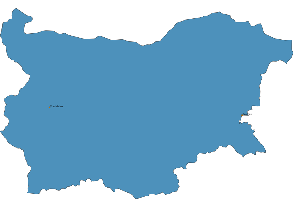 Map of Airports in Bulgaria