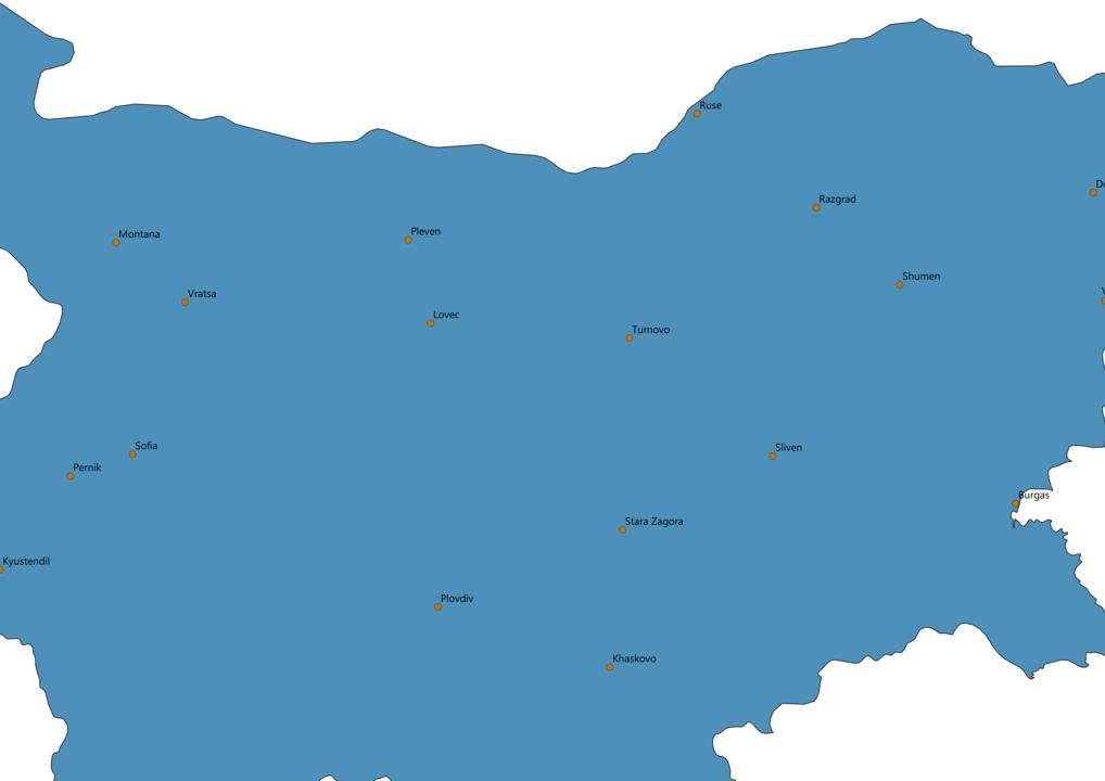 Bulgaria Cities Map