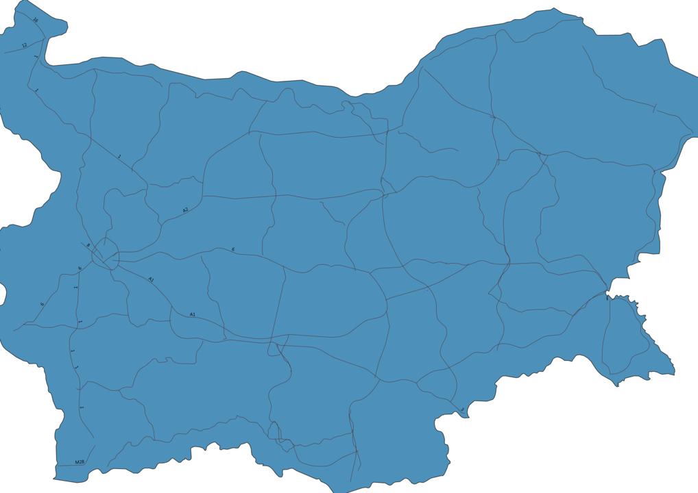 Map of Roads in Bulgaria