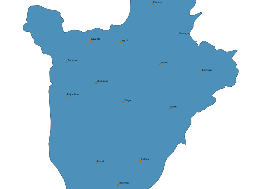 Burundi Cities Map