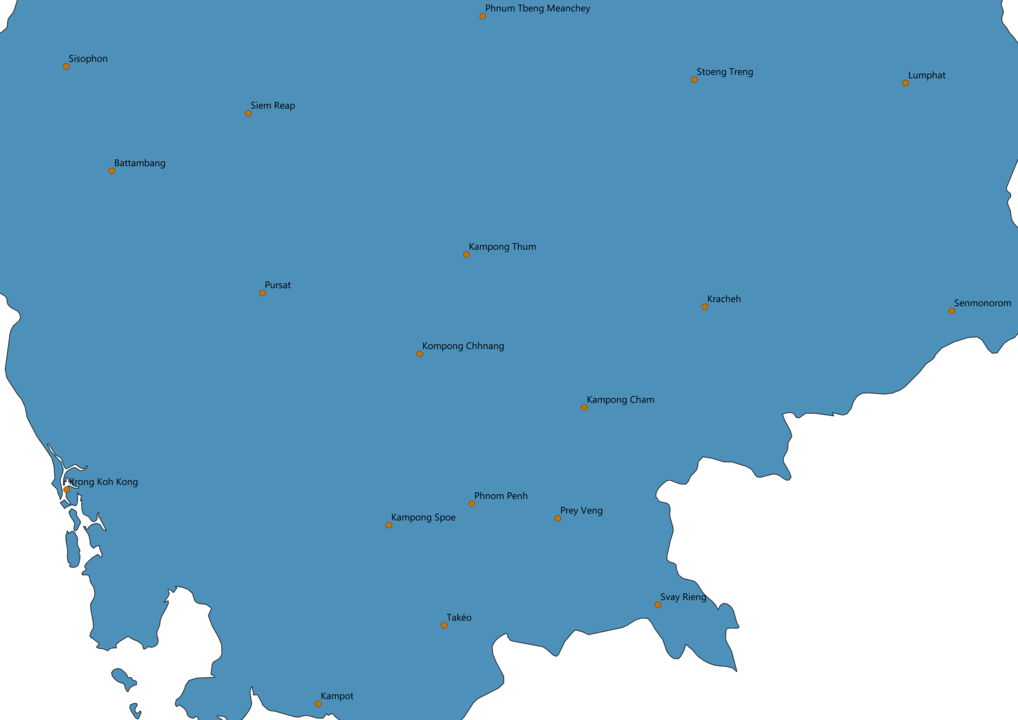 Cambodia Cities Map