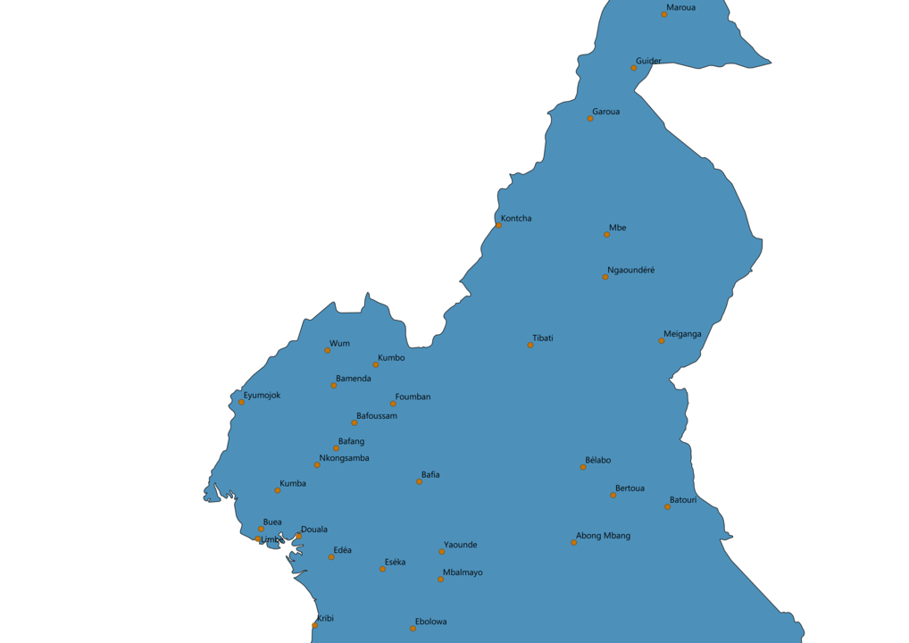 Cameroon Cities Map