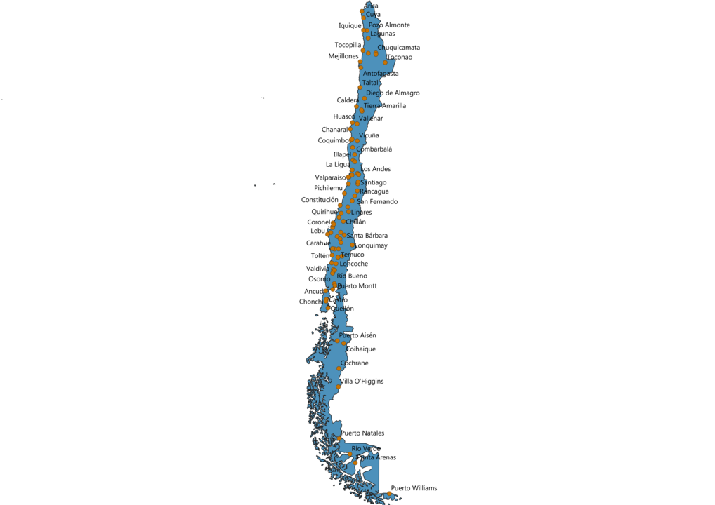 Chile Cities Map
