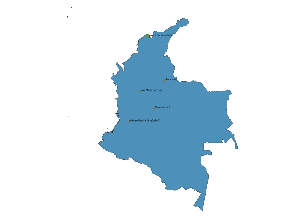 Map of Airports in Colombia