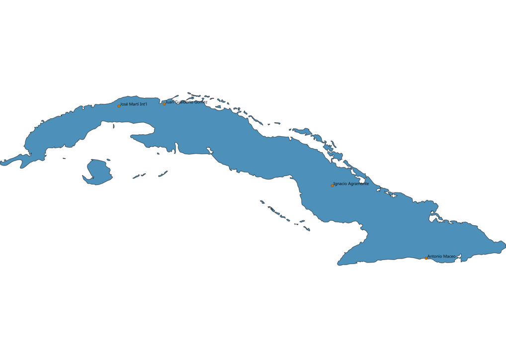 Map of Airports in Cuba