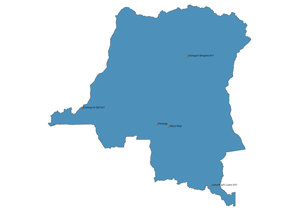 Map of Airports in Democratic Republic of the Congo