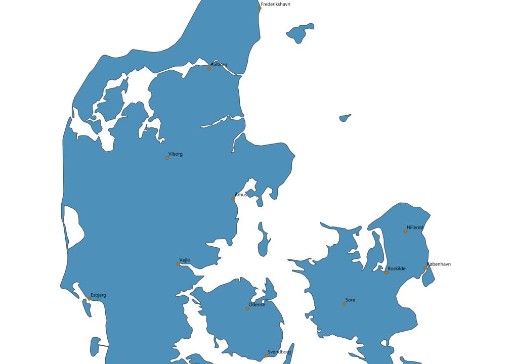 Denmark Cities Map