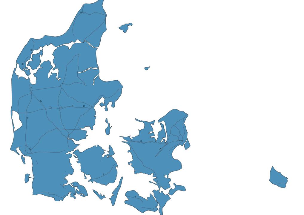Map of Roads in Denmark