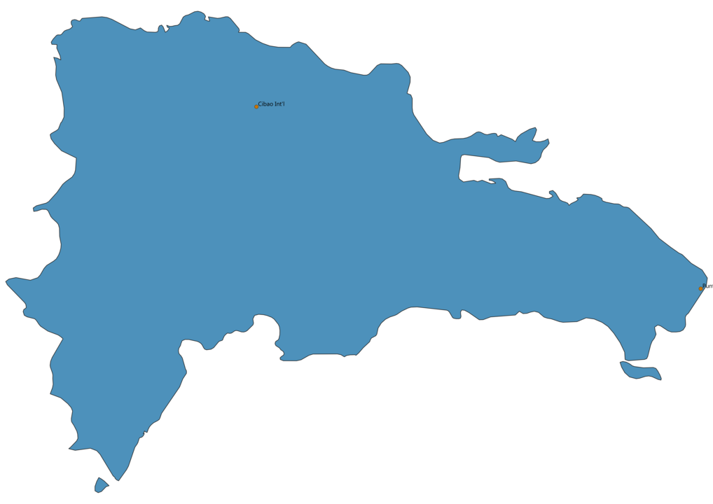 Map of Airports in Dominican Republic