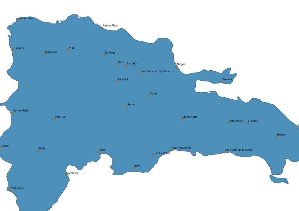 Dominican Republic Cities Map