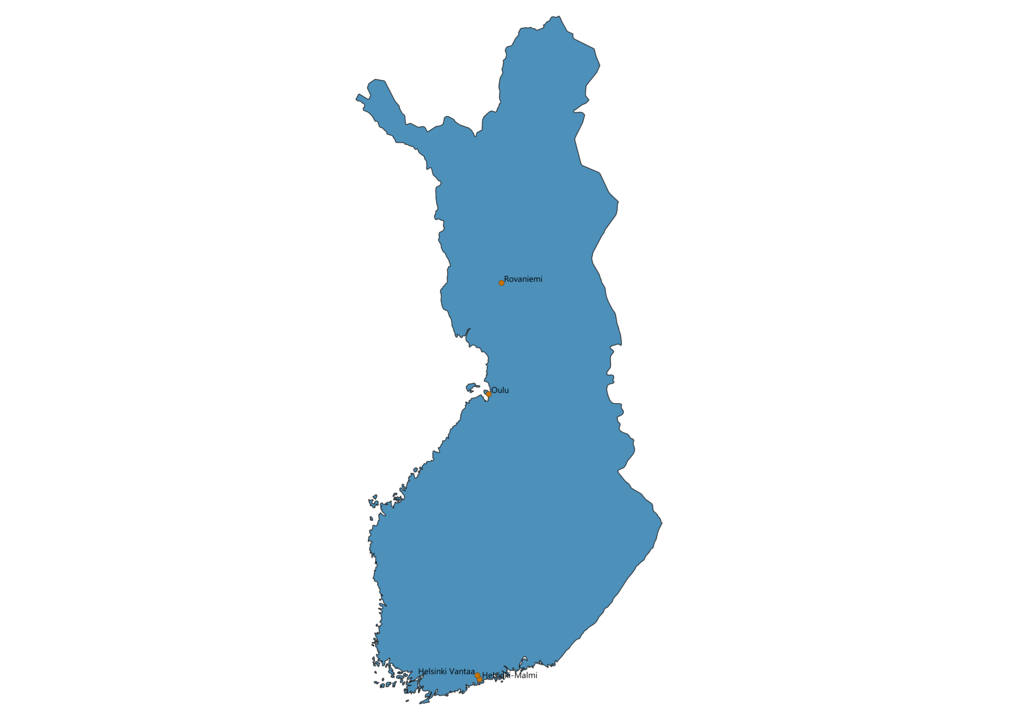 Map of Airports in Finland
