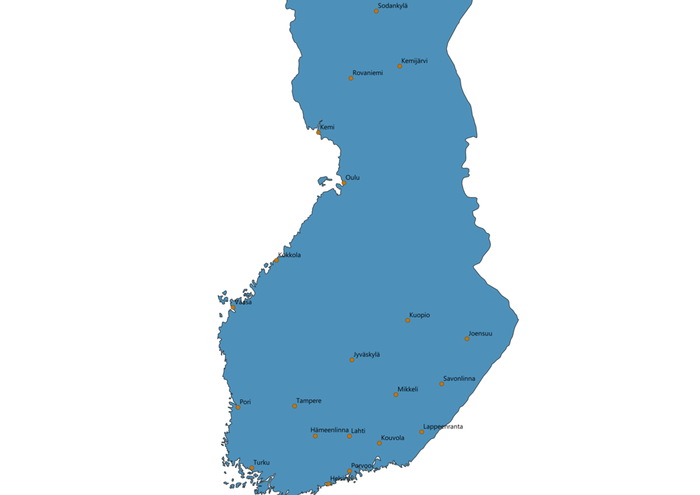Finland Cities Map
