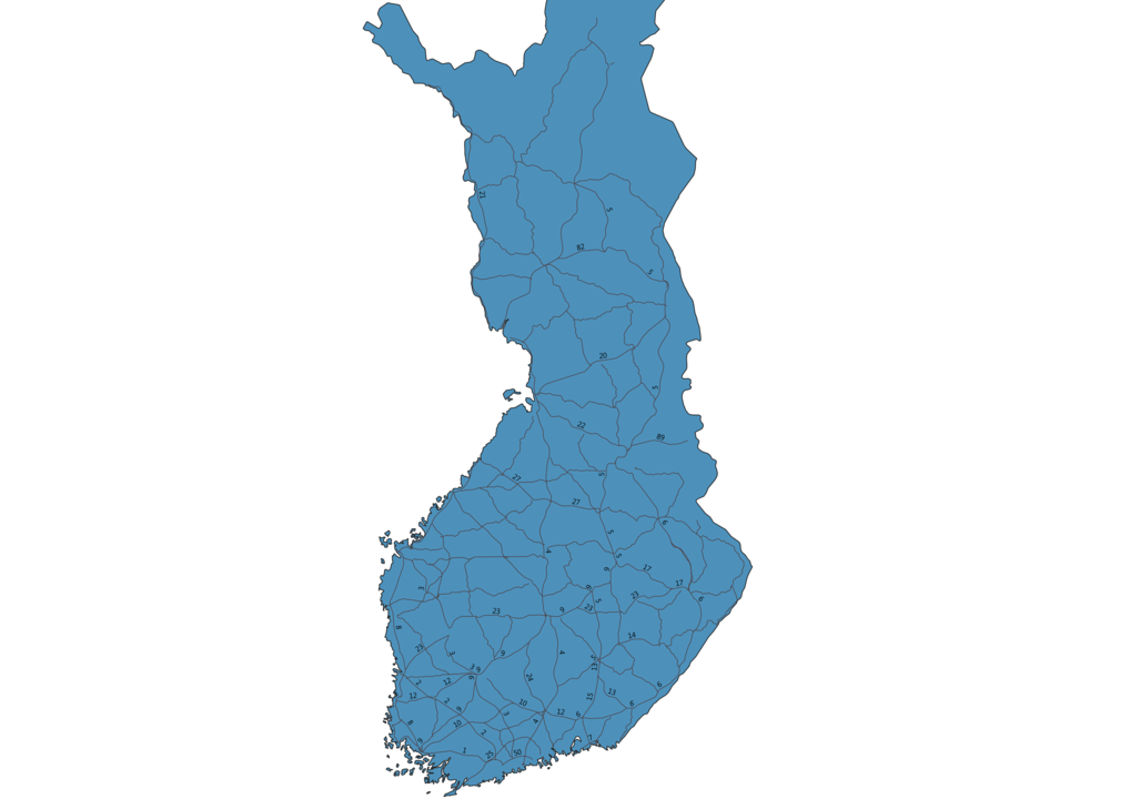 Map of Roads in Finland