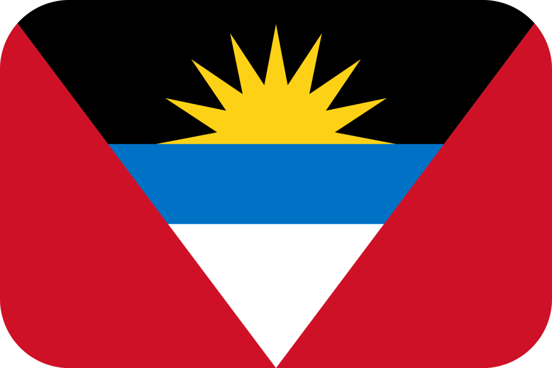 Antigua and Barbuda flag with rounded corners