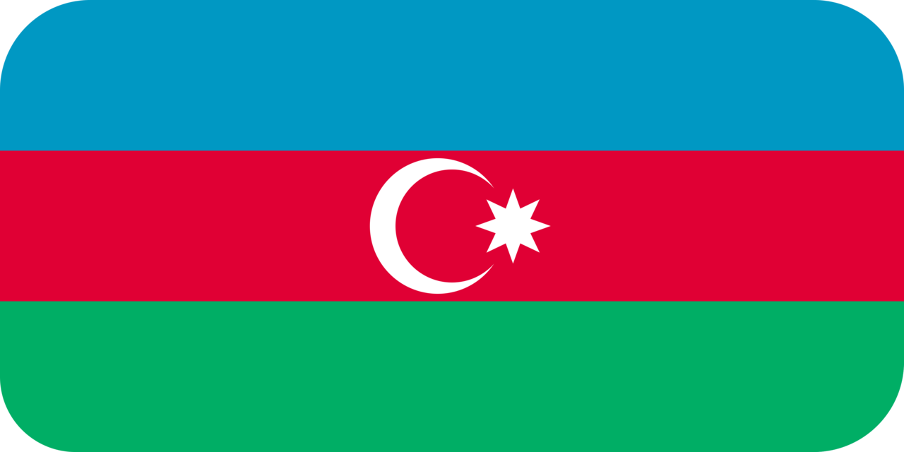 Azerbaijan flag with rounded corners