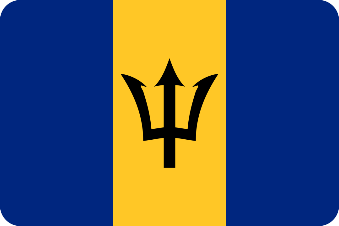 Barbados flag with rounded corners