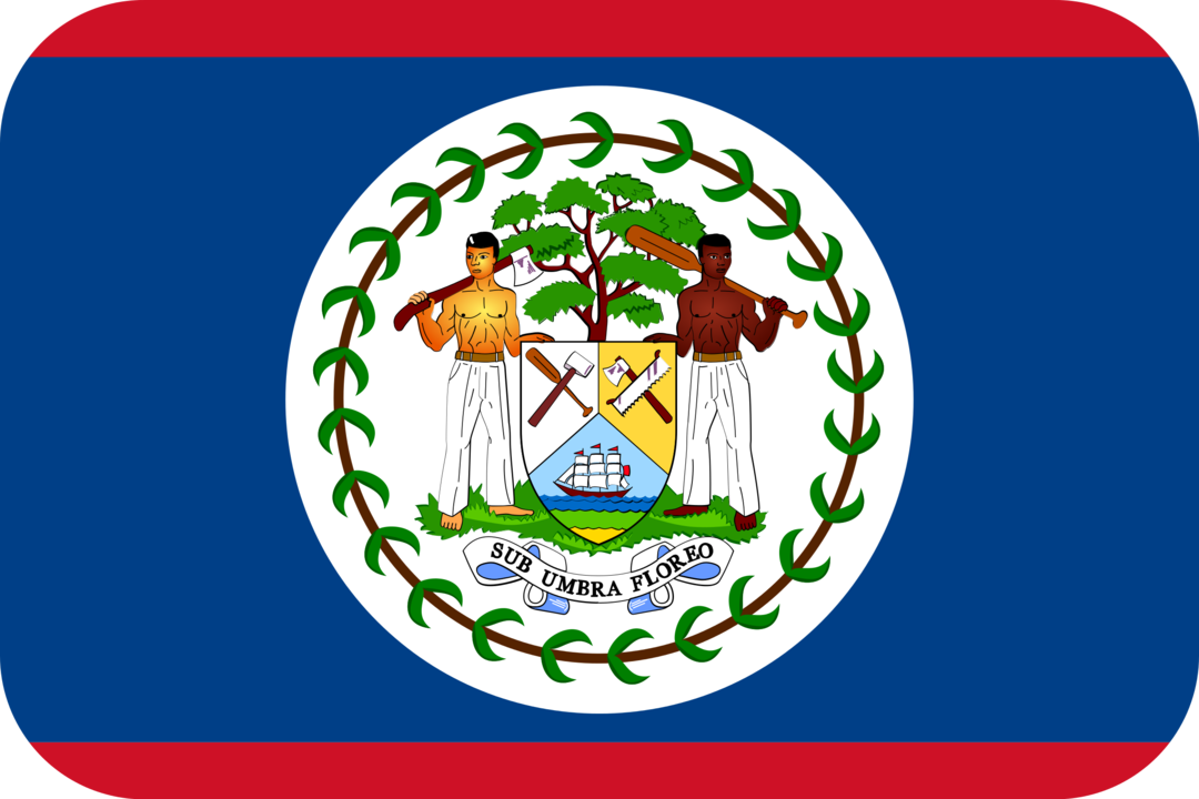 Belize flag with rounded corners