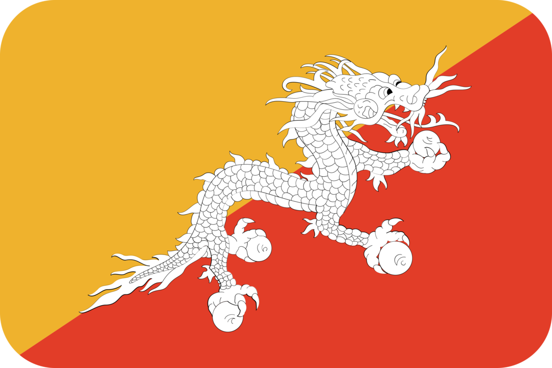 Bhutan flag with rounded corners