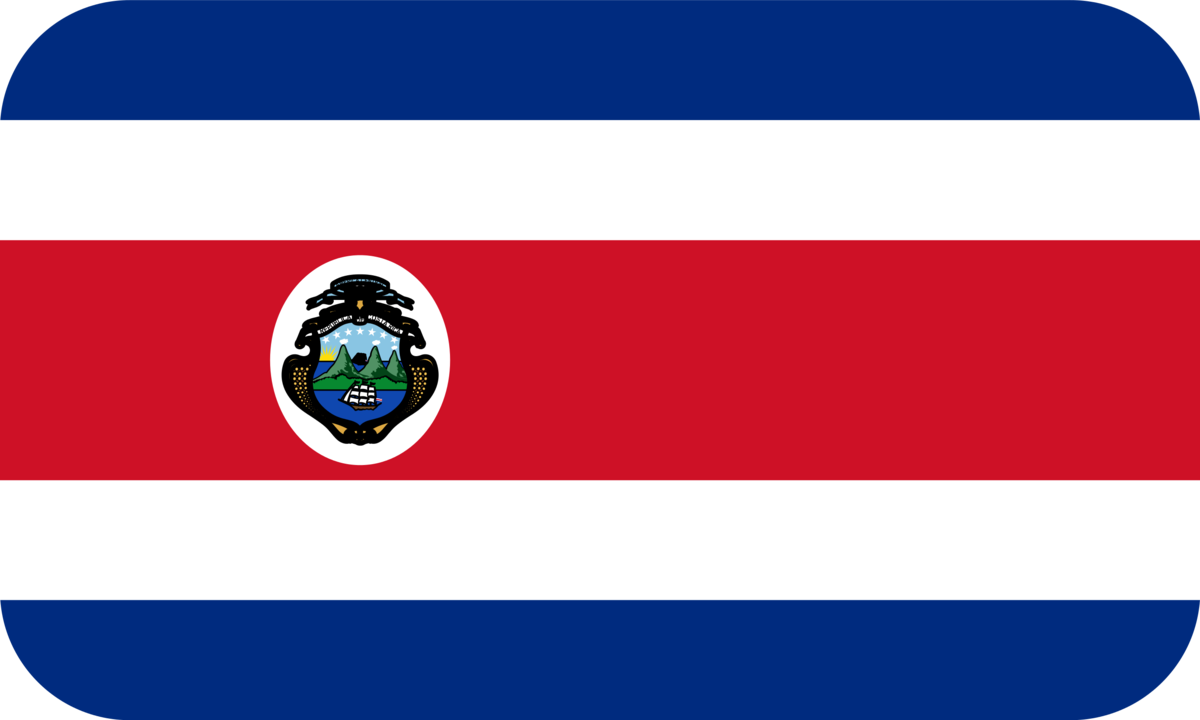 Costa Rica flag with rounded corners