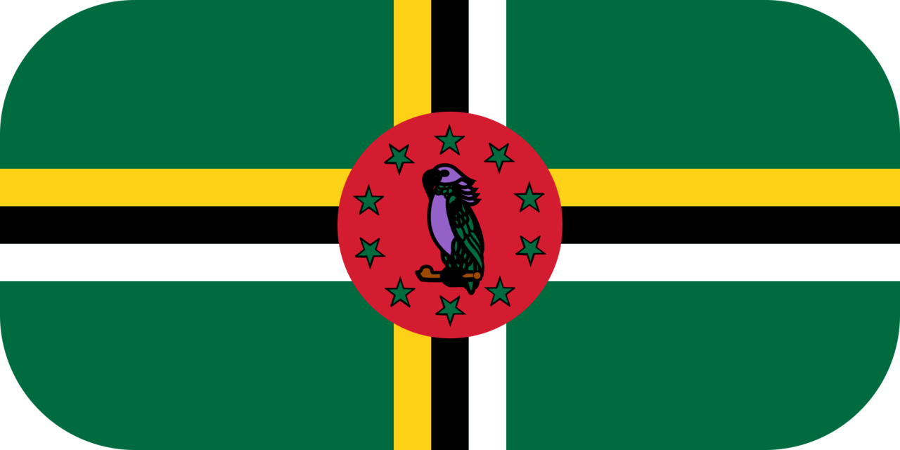 Dominica flag with rounded corners