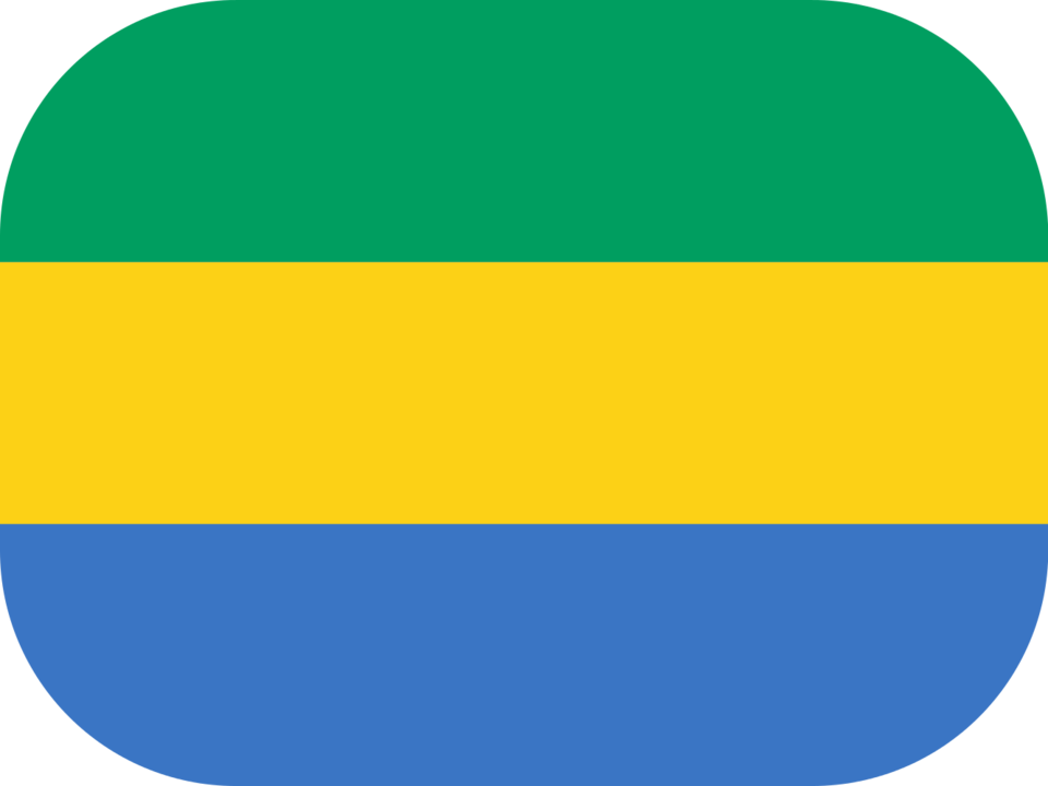 Gabon flag with rounded corners