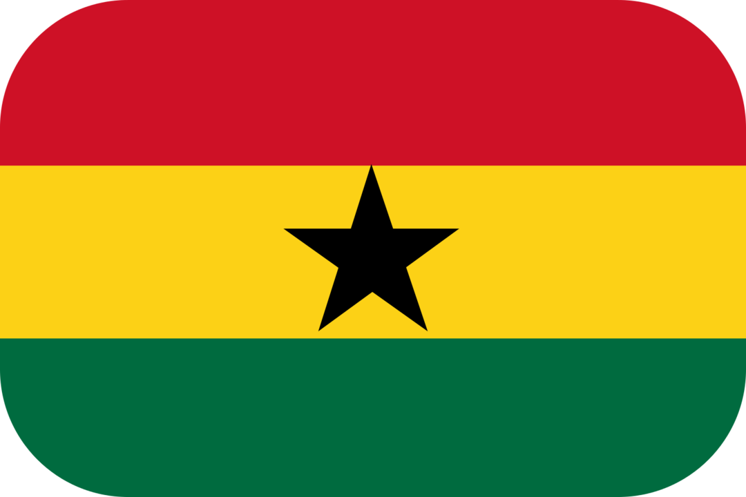 Ghana flag with rounded corners