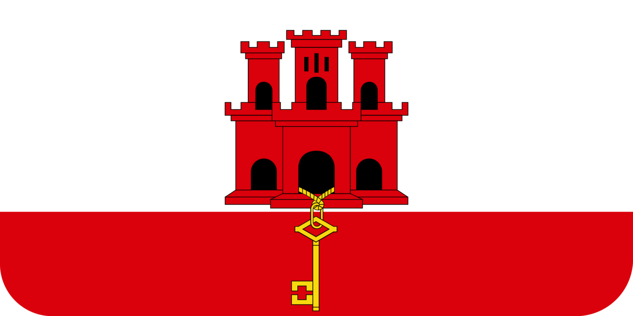Gibraltar flag with rounded corners
