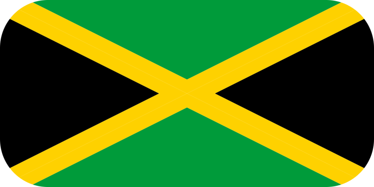 Jamaica flag with rounded corners