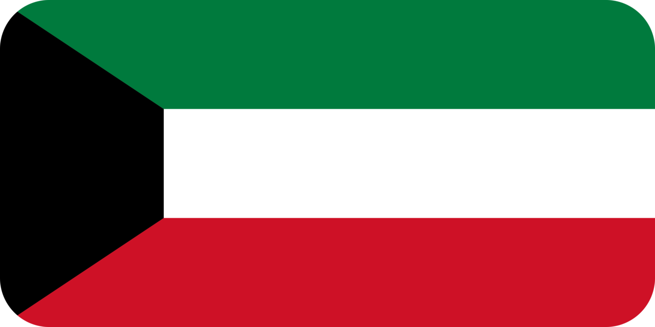 Kuwait flag with rounded corners