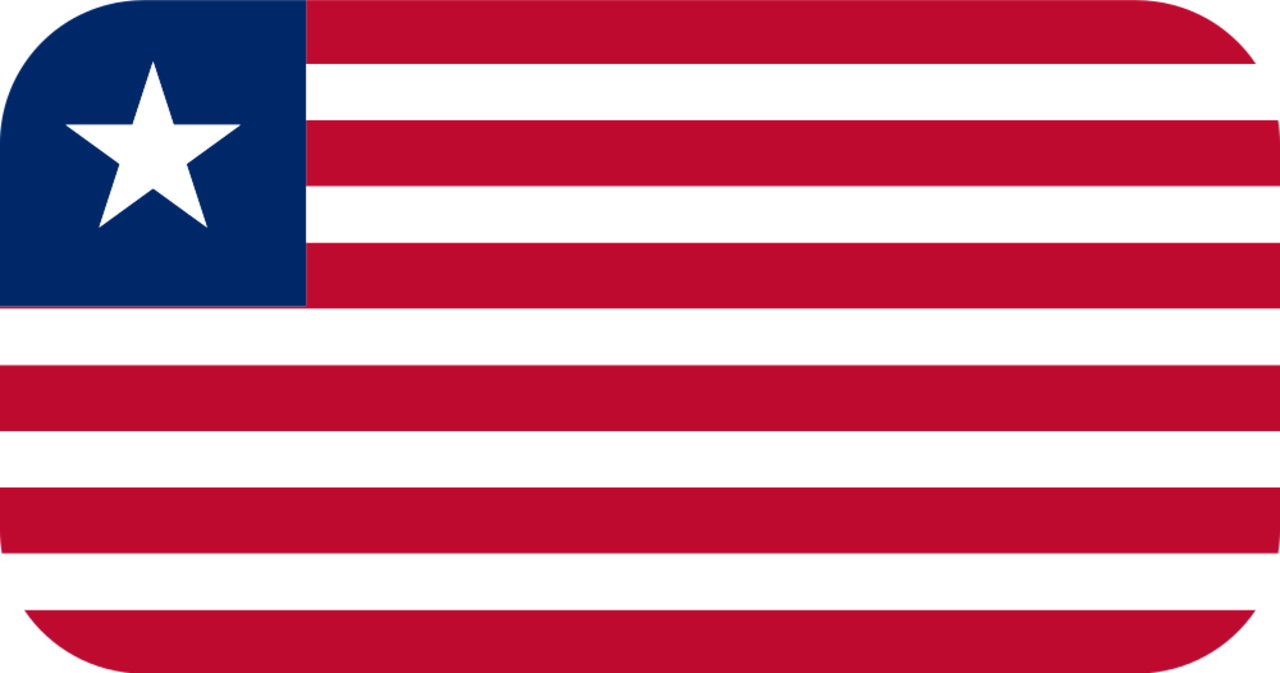 Liberia flag with rounded corners