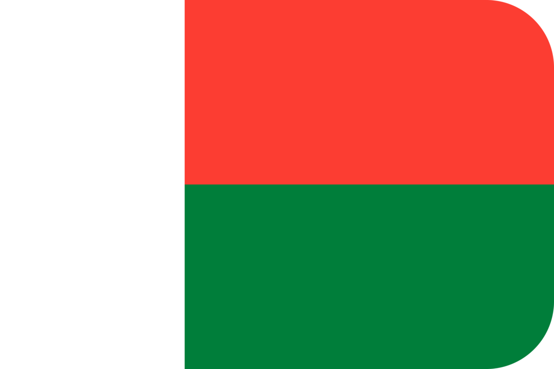 Madagascar flag with rounded corners
