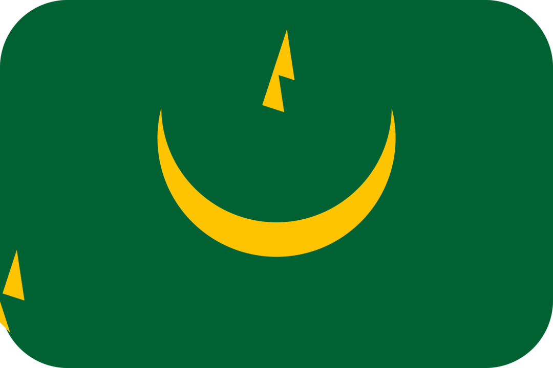 Mauritania flag with rounded corners
