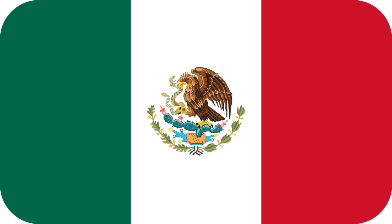 Mexico flag with rounded corners