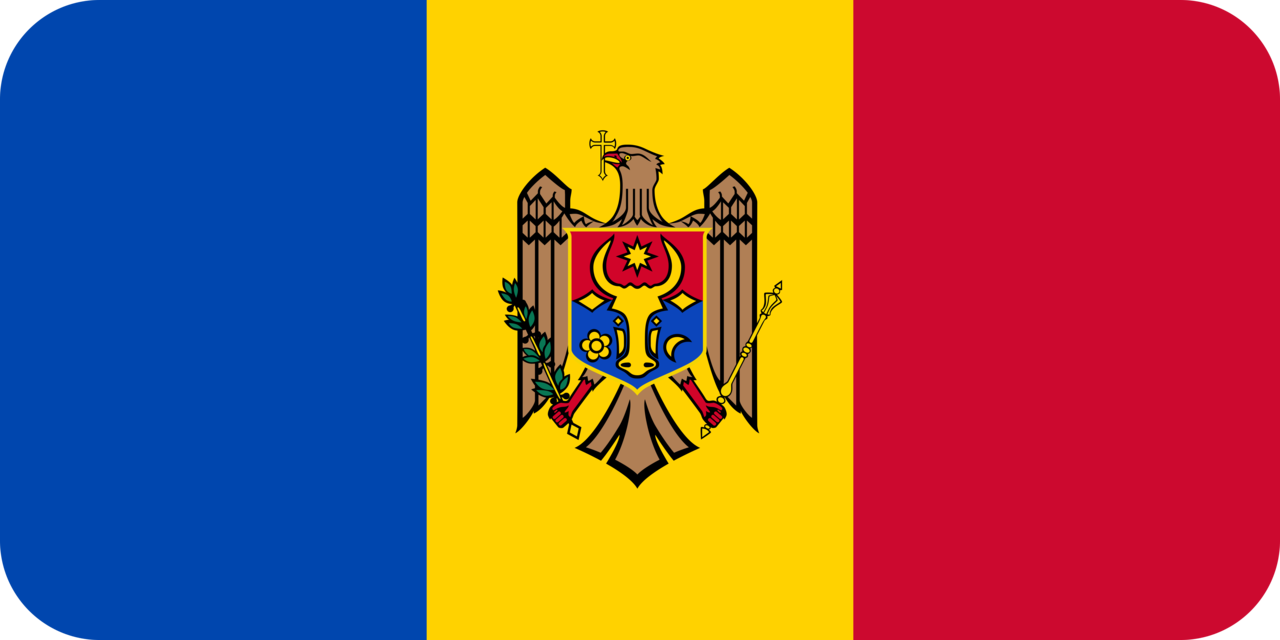 Moldova flag with rounded corners