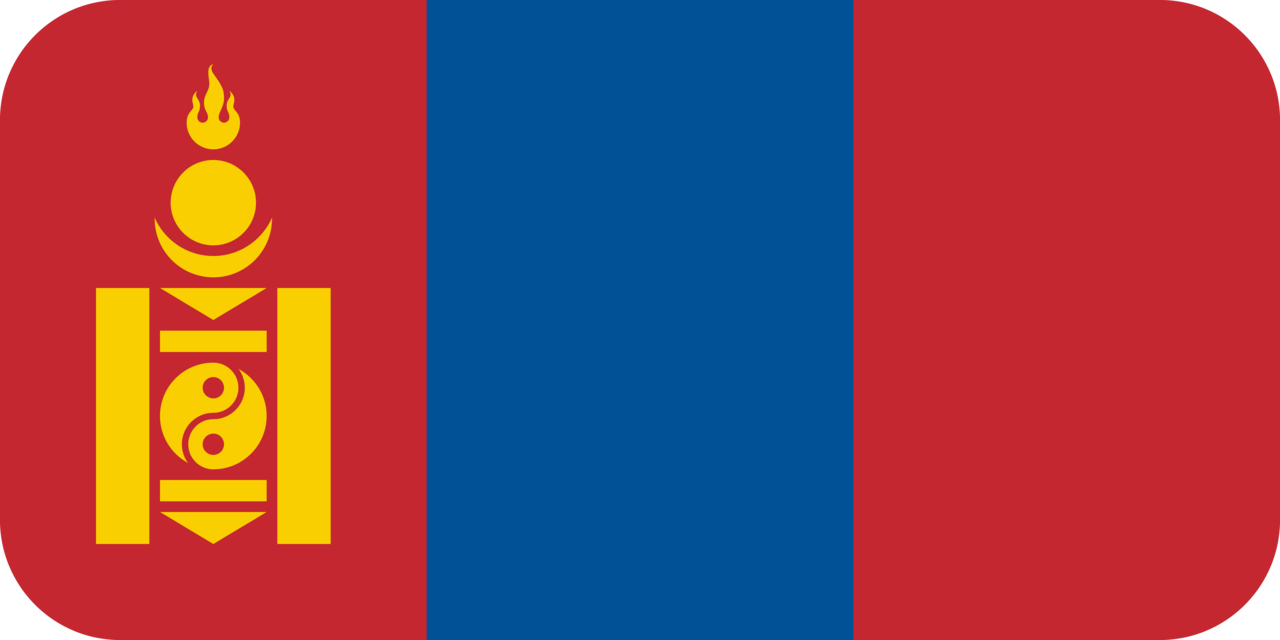 Mongolia flag with rounded corners
