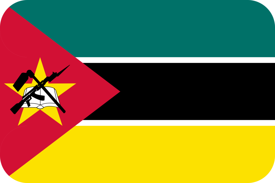 Mozambique flag with rounded corners